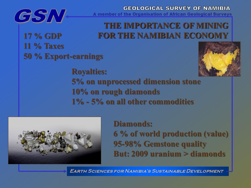 Earth Sciences for Namibias Sustainable Development A member of the Organisation of African Geological Surveys THE IMPORTANCE OF MINING FOR THE NAMIBIAN ECONOMY 17 % GDP 11 % Taxes 50 % Export-earnings Diamonds: 6 % of world production (value) 95-98% Gemstone quality But: 2009 uranium > diamonds Royalties: 5% on unprocessed dimension stone 10% on rough diamonds 1% - 5% on all other commodities