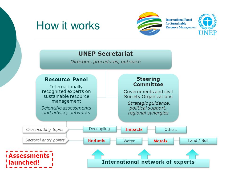 How it works UNEP Secretariat Direction, procedures, outreach Resource Panel Internationally recognized experts on sustainable resource management Sci