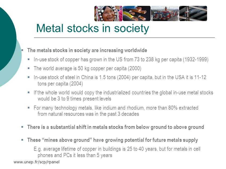 www.unep.fr/scp/rpanel Metal stocks in society The metals stocks in society are increasing worldwide In-use stock of copper has grown in the US from 7