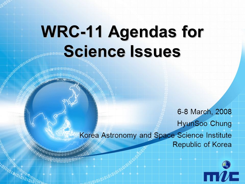 Broadband IT Korea 22 9 kHz 14 kHz 19.95 kHz 20.05 kHz ITU-R Radio Regulations RNSFS, Maritime MS Standard Frequency and Time signal (20 kHz) Required Allocation Recognition of systems in the meteorological aids service Agenda Item 1.16
