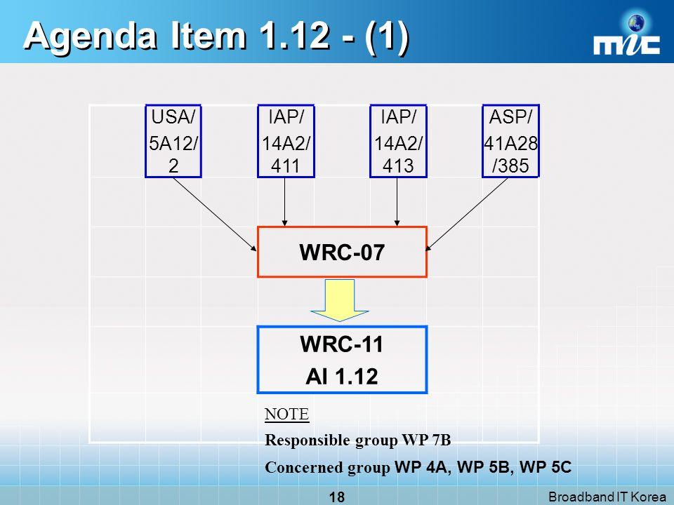 Broadband IT Korea 18 Agenda Item 1.12 - (1) USA/ 5A12/ 2 IAP/ 14A2/ 411 IAP/ 14A2/ 413 ASP/ 41A28 /385 WRC-07 WRC-11 AI 1.12 NOTE Responsible group WP 7B Concerned group WP 4A, WP 5B, WP 5C