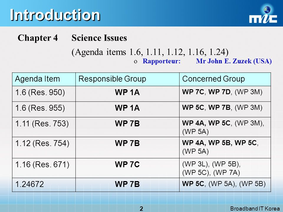 Broadband IT Korea 23 Agenda Item 1.16 - (1) EUR/ 10A25/7 WRC-07 WRC-11 AI 1.16 NOTE Responsible group WP 7C