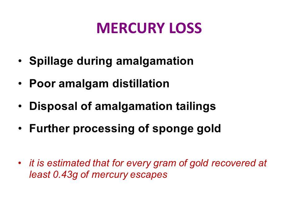 MERCURY LOSS Spillage during amalgamation Poor amalgam distillation Disposal of amalgamation tailings Further processing of sponge gold it is estimate