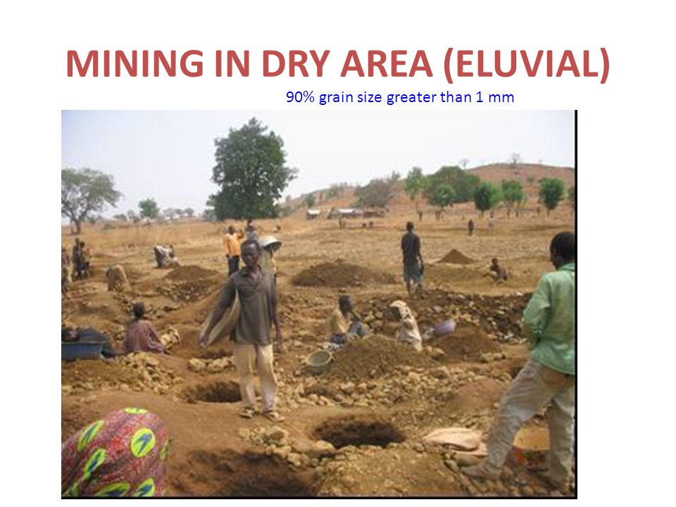 MINING IN DRY AREA (ELUVIAL) 90% grain size greater than 1 mm