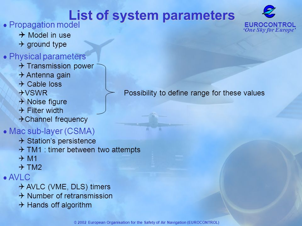 One Sky for Europe EUROCONTROL © 2002 European Organisation for the Safety of Air Navigation (EUROCONTROL) List of system parameters Propagation model