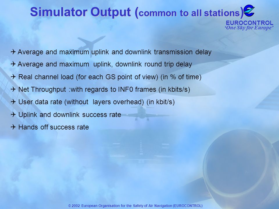 One Sky for Europe EUROCONTROL © 2002 European Organisation for the Safety of Air Navigation (EUROCONTROL) Average and maximum uplink and downlink tra