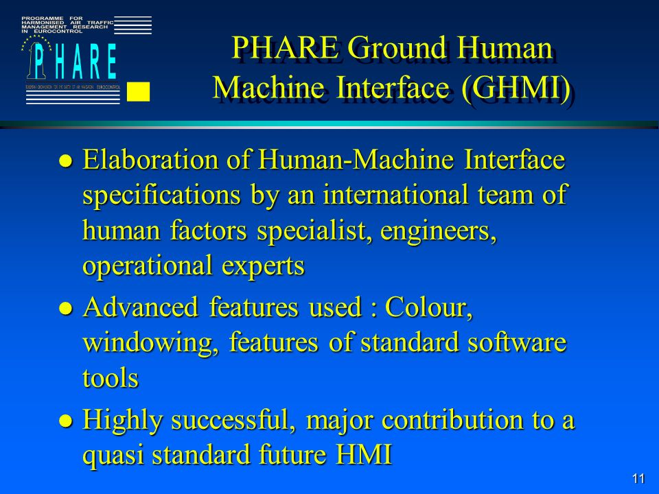 11 PHARE Ground Human Machine Interface (GHMI) l Elaboration of Human-Machine Interface specifications by an international team of human factors specialist, engineers, operational experts l Advanced features used : Colour, windowing, features of standard software tools l Highly successful, major contribution to a quasi standard future HMI