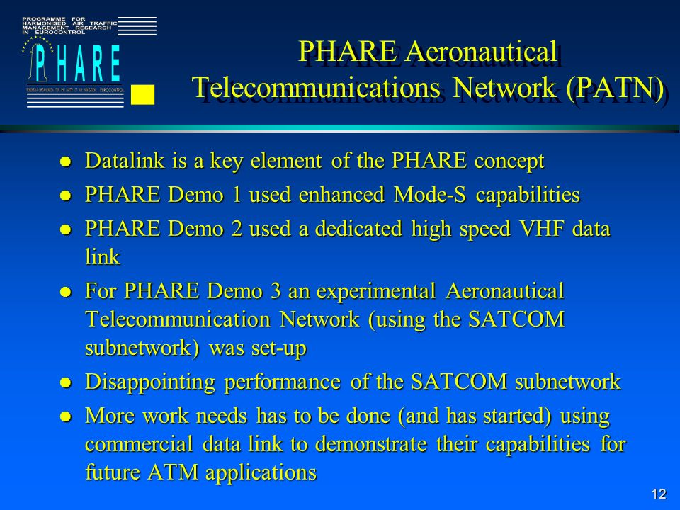 12 PHARE Aeronautical Telecommunications Network (PATN) l Datalink is a key element of the PHARE concept l PHARE Demo 1 used enhanced Mode-S capabilities l PHARE Demo 2 used a dedicated high speed VHF data link l For PHARE Demo 3 an experimental Aeronautical Telecommunication Network (using the SATCOM subnetwork) was set-up l Disappointing performance of the SATCOM subnetwork l More work needs has to be done (and has started) using commercial data link to demonstrate their capabilities for future ATM applications