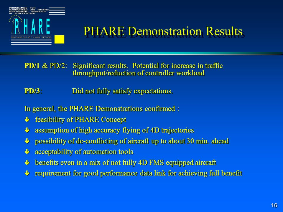16 PHARE Demonstration Results PD/1 & PD/2: Significant results.