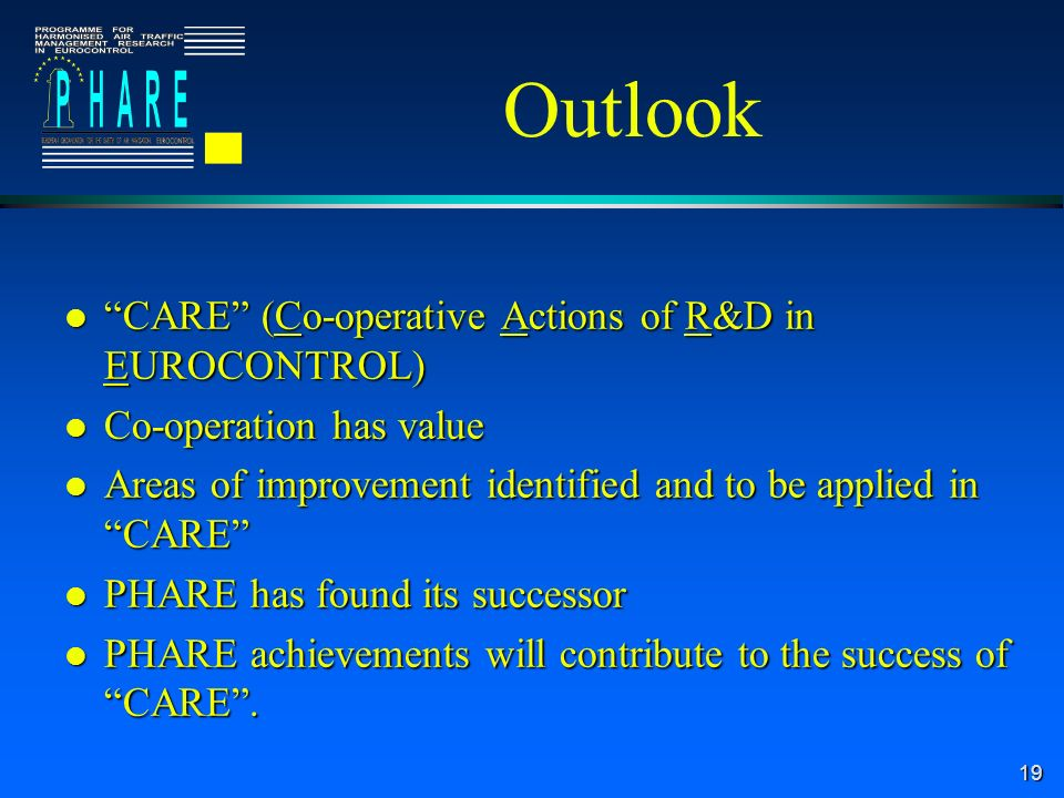19 Outlook l CARE (Co-operative Actions of R&D in EUROCONTROL) l Co-operation has value l Areas of improvement identified and to be applied in CARE l PHARE has found its successor l PHARE achievements will contribute to the success of CARE.
