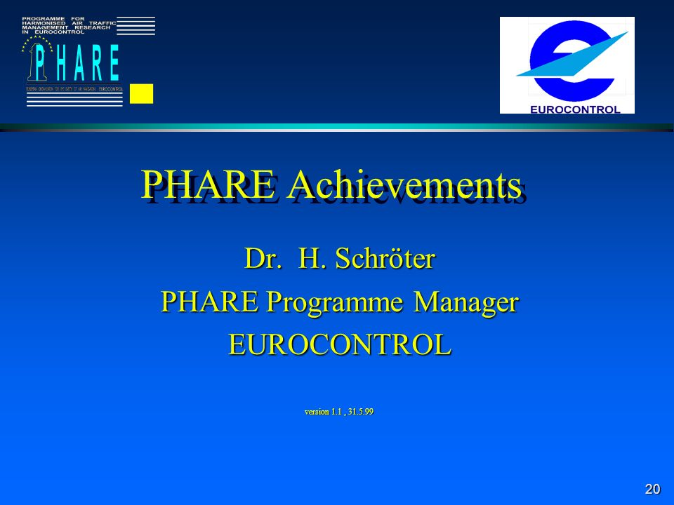 20 PHARE Achievements Dr. H. Schröter PHARE Programme Manager EUROCONTROL version 1.1, 31.5.99