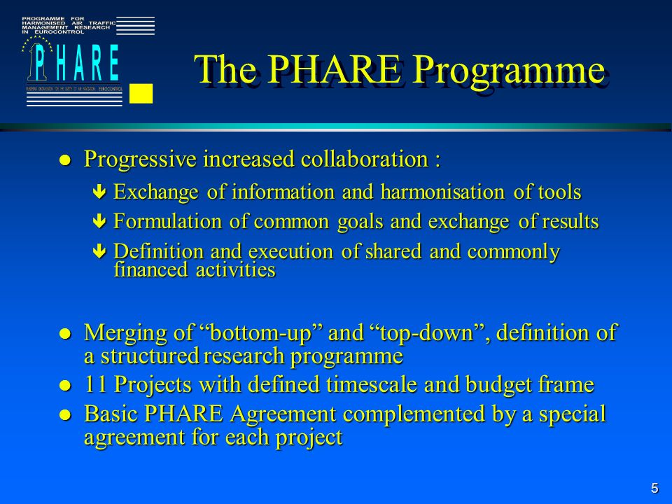 5 The PHARE Programme l Progressive increased collaboration : ê Exchange of information and harmonisation of tools ê Formulation of common goals and exchange of results ê Definition and execution of shared and commonly financed activities l Merging of bottom-up and top-down, definition of a structured research programme l 11 Projects with defined timescale and budget frame l Basic PHARE Agreement complemented by a special agreement for each project