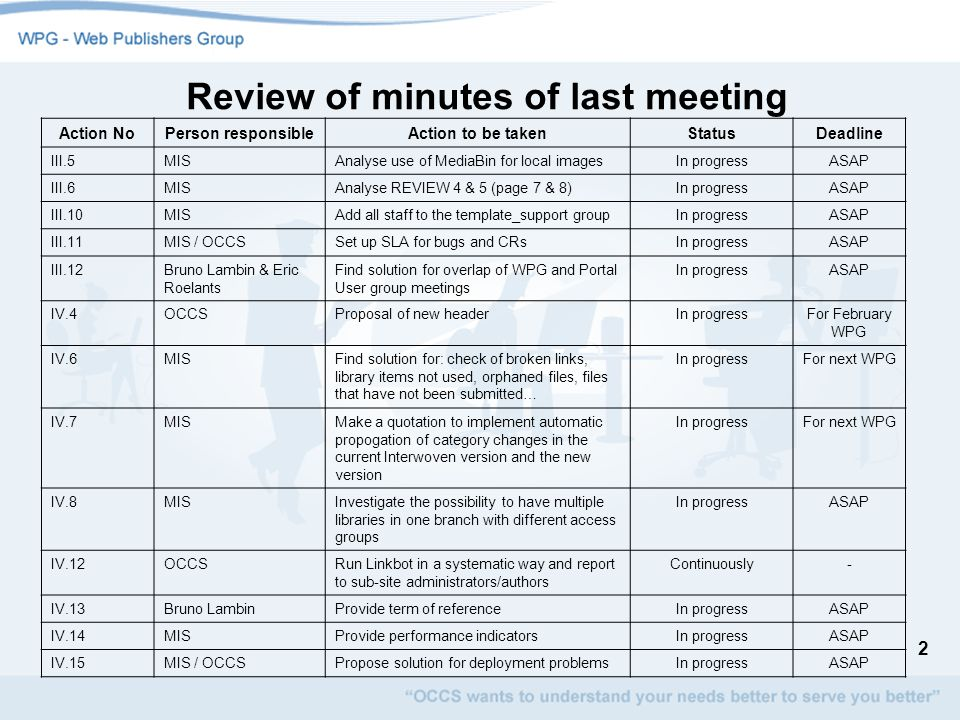 3 Review of minutes of last meeting V.1OCCSSent out invitation for next meetingDONEProposed date: 8/02/2006 V.2MIS / OCCSTo incorporate all accepted change requestsIn progressASAP V.3OCCSCDMS naming conventions for library fieldsDONETogether with minutes V.4MISSend a recommendation to AWG on WatchFireIn progressASAP V.5OCCSPost proposal to add links in the contact pageIn progressASAP VI.1MISCheck overlap between MediaBin and CDMS-- VI.2MISCheck whether other SBUs can also participate in the EATM pilot for the new MediaBin version -ASAP VI.3WPGTest myORBITe and send remarks to OCCS-21/04/2006