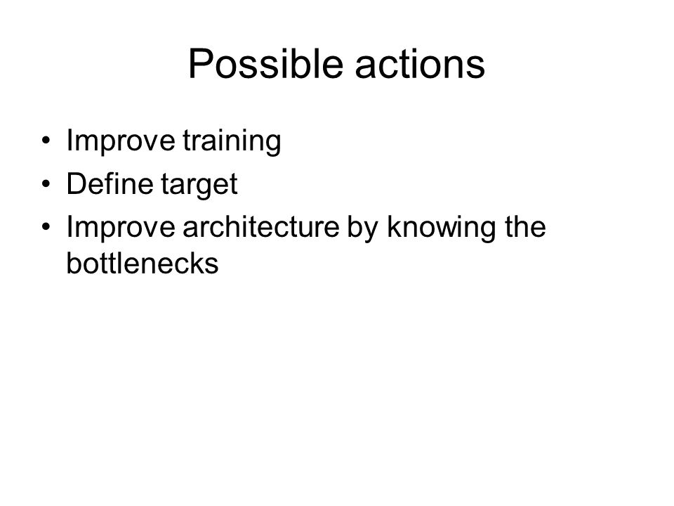 Possible actions Improve training Define target Improve architecture by knowing the bottlenecks
