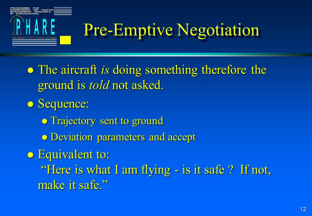 12 Pre-Emptive Negotiation l The aircraft is doing something therefore the ground is told not asked.