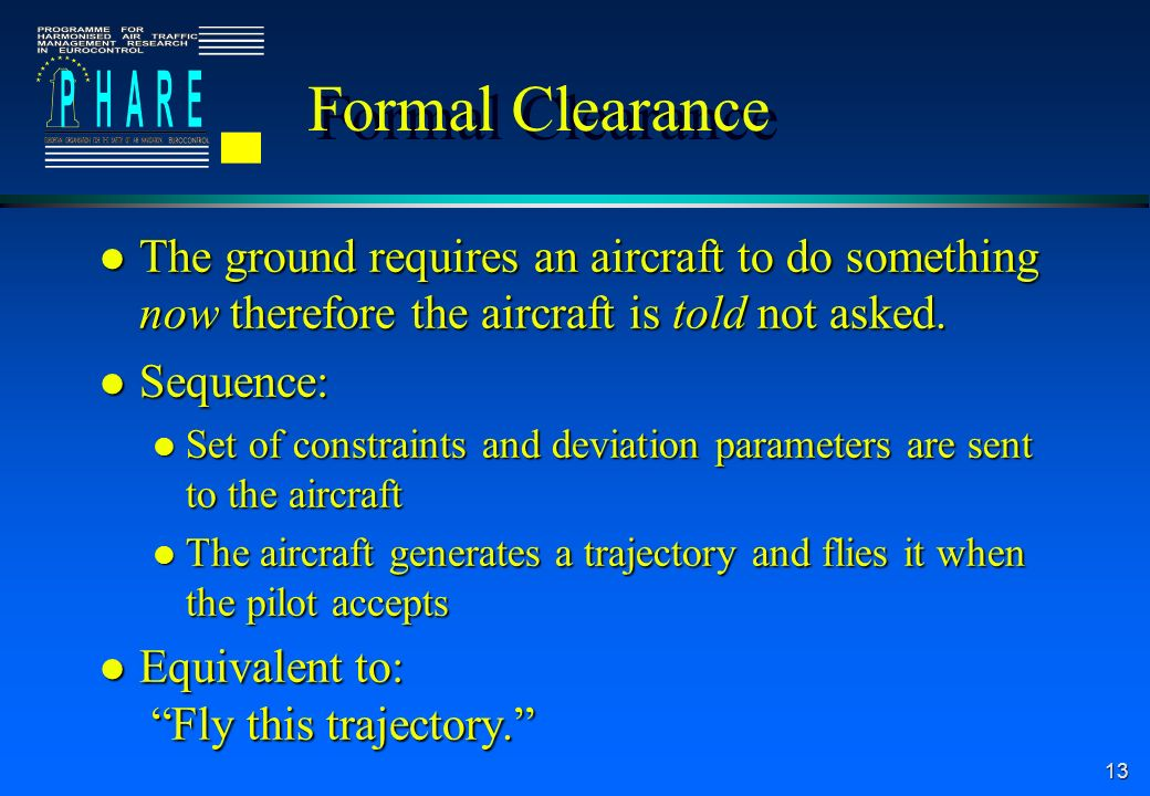 13 Formal Clearance l The ground requires an aircraft to do something now therefore the aircraft is told not asked.