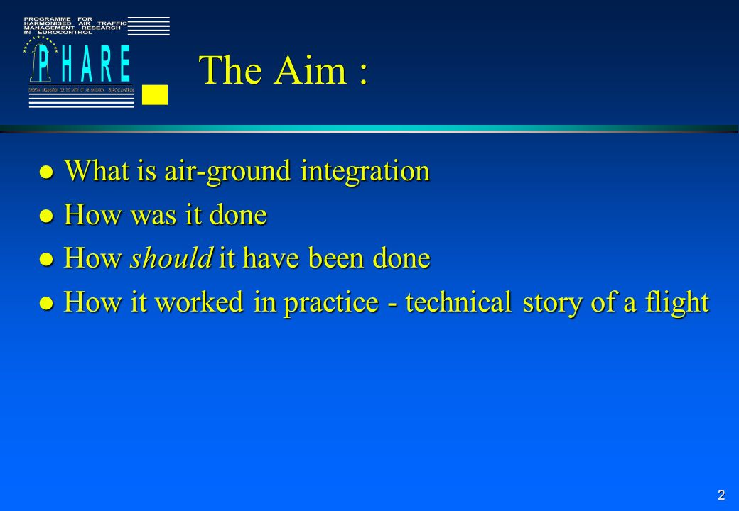 2 The Aim : l What is air-ground integration l How was it done l How should it have been done l How it worked in practice - technical story of a flight