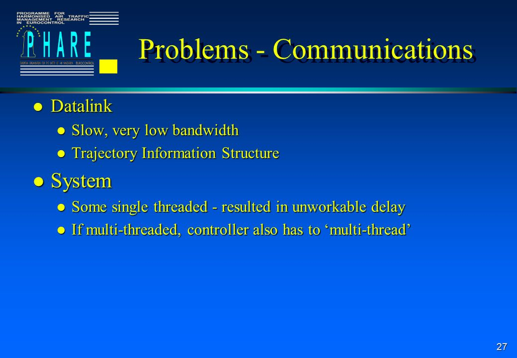 27 Problems - Communications l Datalink l Slow, very low bandwidth l Trajectory Information Structure l System l Some single threaded - resulted in unworkable delay l If multi-threaded, controller also has to multi-thread