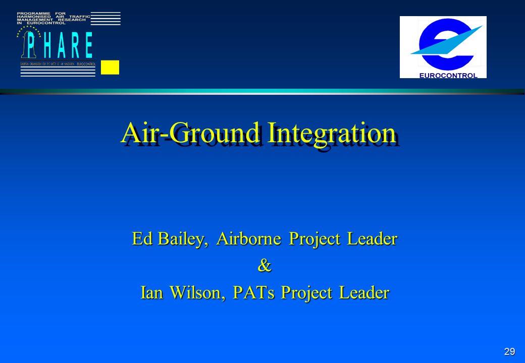 29 Air-Ground Integration Ed Bailey, Airborne Project Leader & Ian Wilson, PATs Project Leader