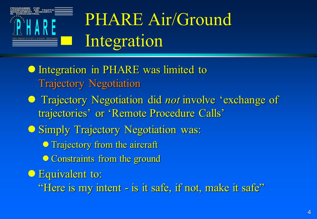 4 PHARE Air/Ground Integration Integration in PHARE was limited to Trajectory Negotiation Integration in PHARE was limited to Trajectory Negotiation Trajectory Negotiation did not involve exchange of trajectories or Remote Procedure Calls Trajectory Negotiation did not involve exchange of trajectories or Remote Procedure Calls Simply Trajectory Negotiation was: Simply Trajectory Negotiation was: Trajectory from the aircraft Trajectory from the aircraft Constraints from the ground Constraints from the ground Equivalent to: Here is my intent - is it safe, if not, make it safe Equivalent to: Here is my intent - is it safe, if not, make it safe
