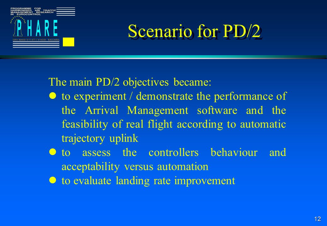 12 Scenario for PD/2 The main PD/2 objectives became: to experiment / demonstrate the performance of the Arrival Management software and the feasibility of real flight according to automatic trajectory uplink to assess the controllers behaviour and acceptability versus automation to evaluate landing rate improvement