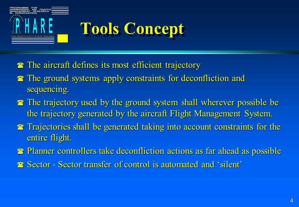 5 Tools Technical Concept l Tools are not standalone l Tools provide services to each other l In the PHARE CMS Architecture Server tools provide information to client tools using events alerting the client tool to the information l One event such as a new trajectory can cause a cascade of events through the system l Tools are not standalone l Tools provide services to each other l In the PHARE CMS Architecture Server tools provide information to client tools using events alerting the client tool to the information l One event such as a new trajectory can cause a cascade of events through the system