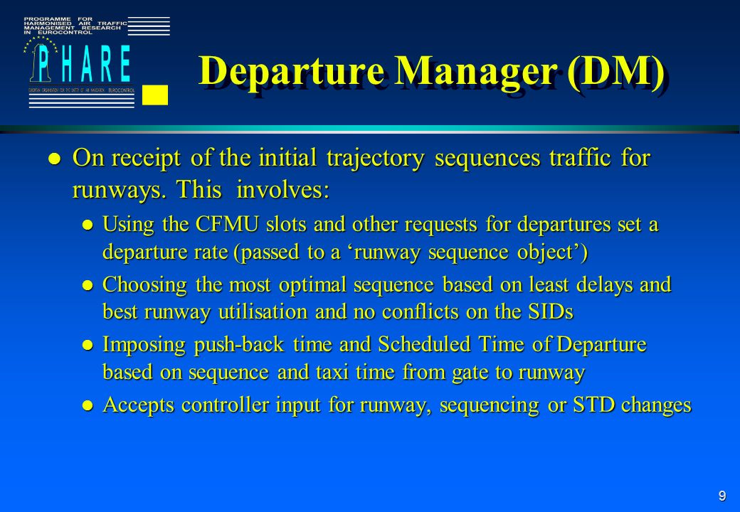 10 Arrival Manager (AM) l On receipt of the initial trajectory sequences traffic for runways.