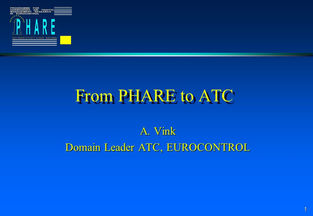 1 From PHARE to ATC A. Vink Domain Leader ATC, EUROCONTROL