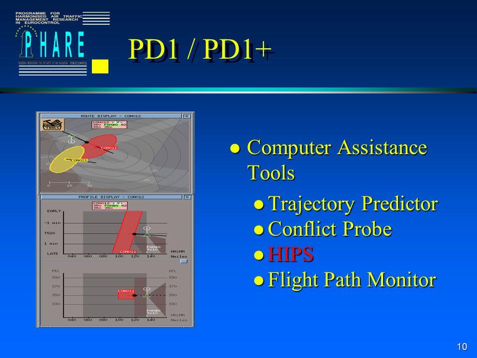 10 l Computer Assistance Tools l Trajectory Predictor l Conflict Probe l HIPS l Flight Path Monitor PD1 / PD1+