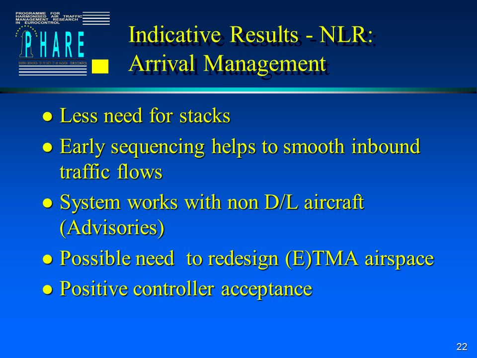 22 Indicative Results - NLR: Arrival Management l Less need for stacks l Early sequencing helps to smooth inbound traffic flows l System works with non D/L aircraft (Advisories) l Possible need to redesign (E)TMA airspace l Positive controller acceptance