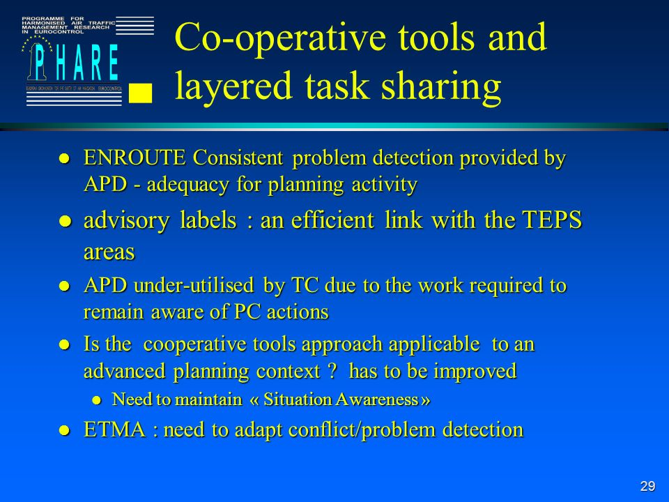 29 Co-operative tools and layered task sharing l ENROUTE Consistent problem detection provided by APD - adequacy for planning activity l advisory labels : an efficient link with the TEPS areas l APD under-utilised by TC due to the work required to remain aware of PC actions l Is the cooperative tools approach applicable to an advanced planning context .