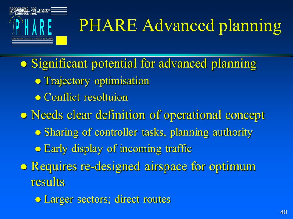 40 PHARE Advanced planning l Significant potential for advanced planning l Trajectory optimisation l Conflict resoltuion l Needs clear definition of operational concept l Sharing of controller tasks, planning authority l Early display of incoming traffic l Requires re-designed airspace for optimum results l Larger sectors; direct routes