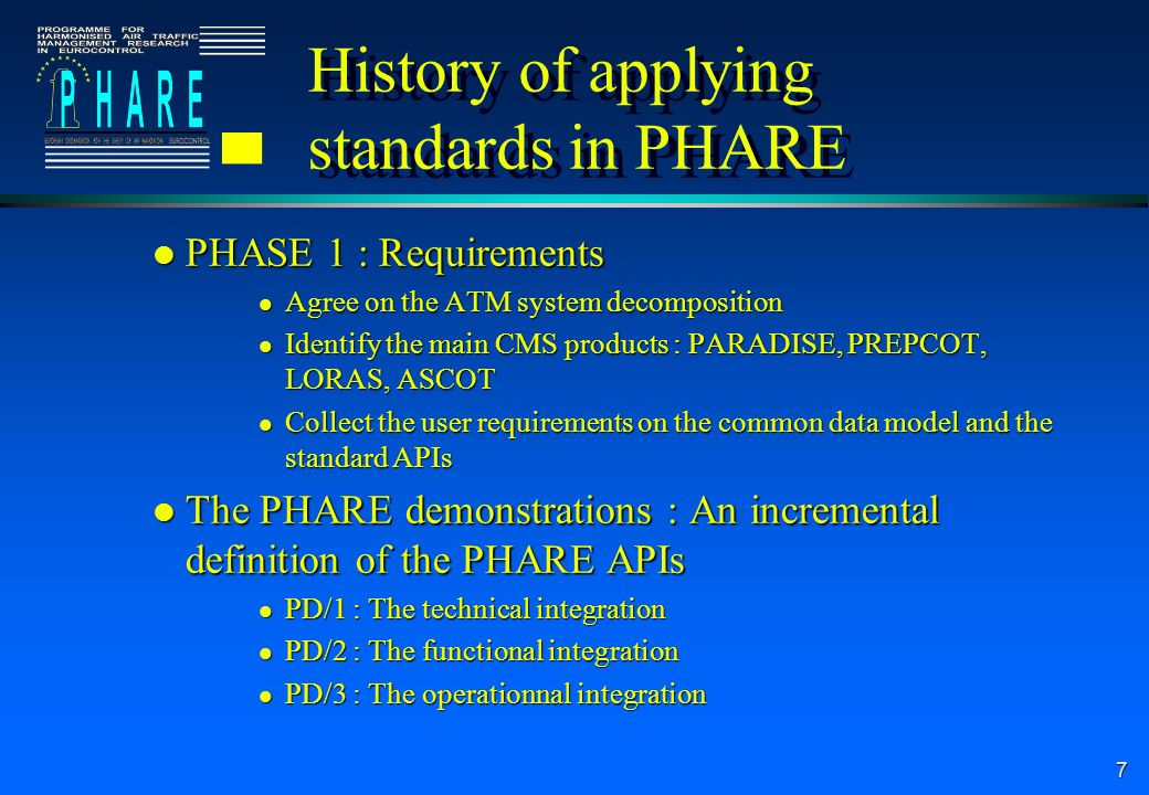 7 History of applying standards in PHARE l PHASE 1 : Requirements l Agree on the ATM system decomposition l Identify the main CMS products : PARADISE, PREPCOT, LORAS, ASCOT l Collect the user requirements on the common data model and the standard APIs l The PHARE demonstrations : An incremental definition of the PHARE APIs l PD/1 : The technical integration l PD/2 : The functional integration l PD/3 : The operationnal integration