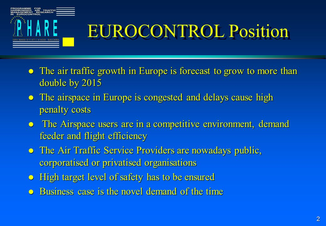 2 EUROCONTROL Position l The air traffic growth in Europe is forecast to grow to more than double by 2015 l The airspace in Europe is congested and de