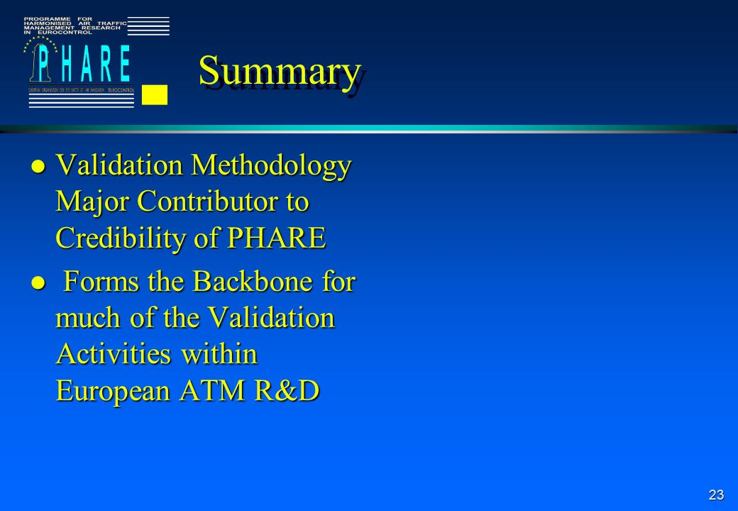 23 Summary l Validation Methodology Major Contributor to Credibility of PHARE l Forms the Backbone for much of the Validation Activities within Europe