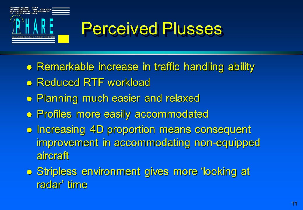 11 Perceived Plusses l Remarkable increase in traffic handling ability l Reduced RTF workload l Planning much easier and relaxed l Profiles more easily accommodated l Increasing 4D proportion means consequent improvement in accommodating non-equipped aircraft l Stripless environment gives more looking at radar time