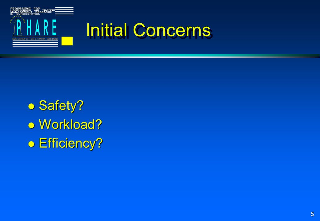 5 Initial Concerns l Safety l Workload l Efficiency