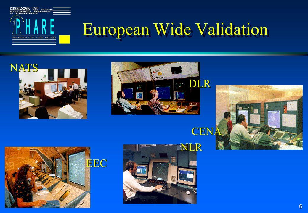 6 European Wide Validation NATS DLR DLR CENA CENANLR EEC EEC