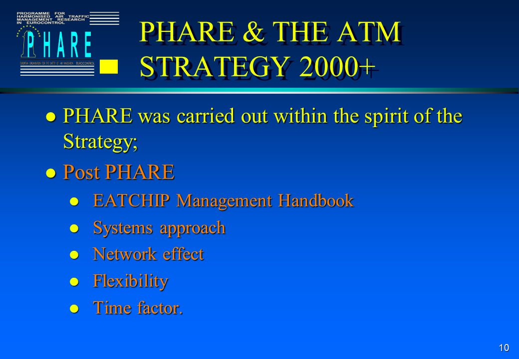 10 PHARE & THE ATM STRATEGY l PHARE was carried out within the spirit of the Strategy; l Post PHARE l EATCHIP Management Handbook l Systems approach l Network effect l Flexibility l Time factor.
