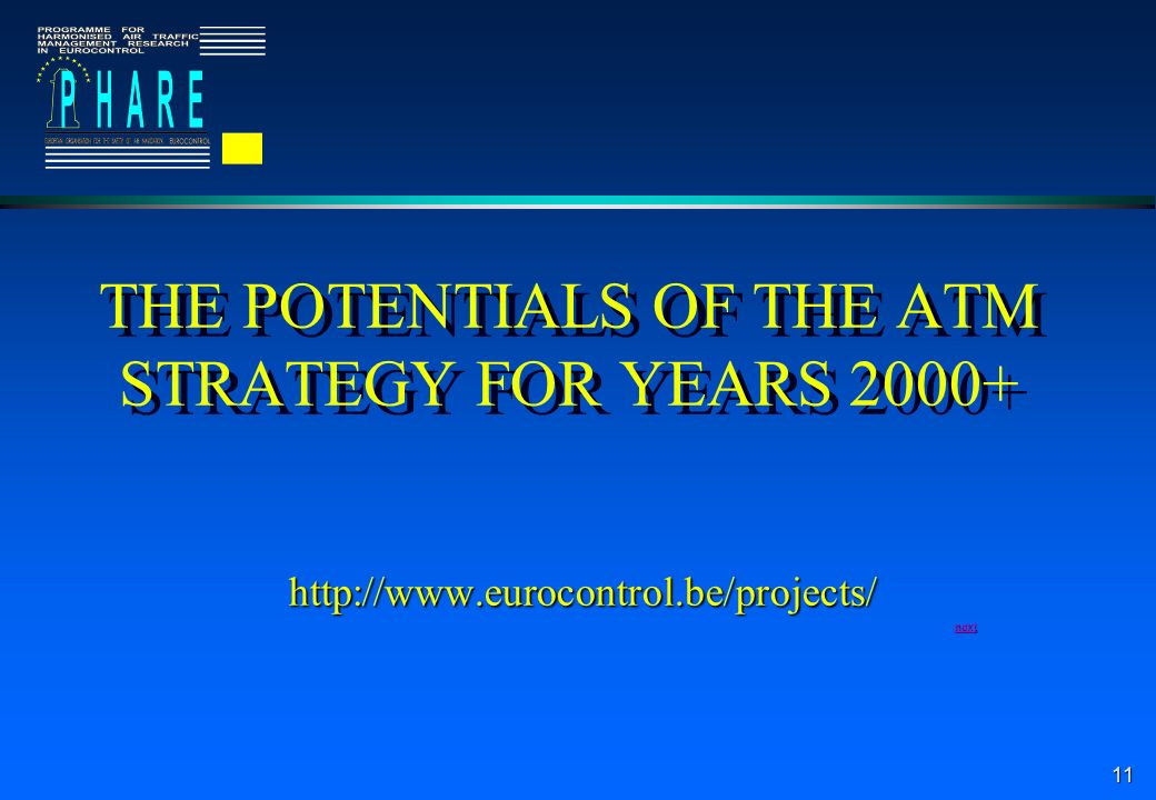 11 THE POTENTIALS OF THE ATM STRATEGY FOR YEARS 2000+ http://www.eurocontrol.be/projects/ next