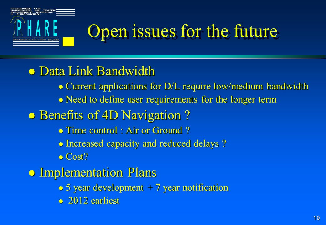 10 Open issues for the future l Data Link Bandwidth l Current applications for D/L require low/medium bandwidth l Need to define user requirements for the longer term l Benefits of 4D Navigation .