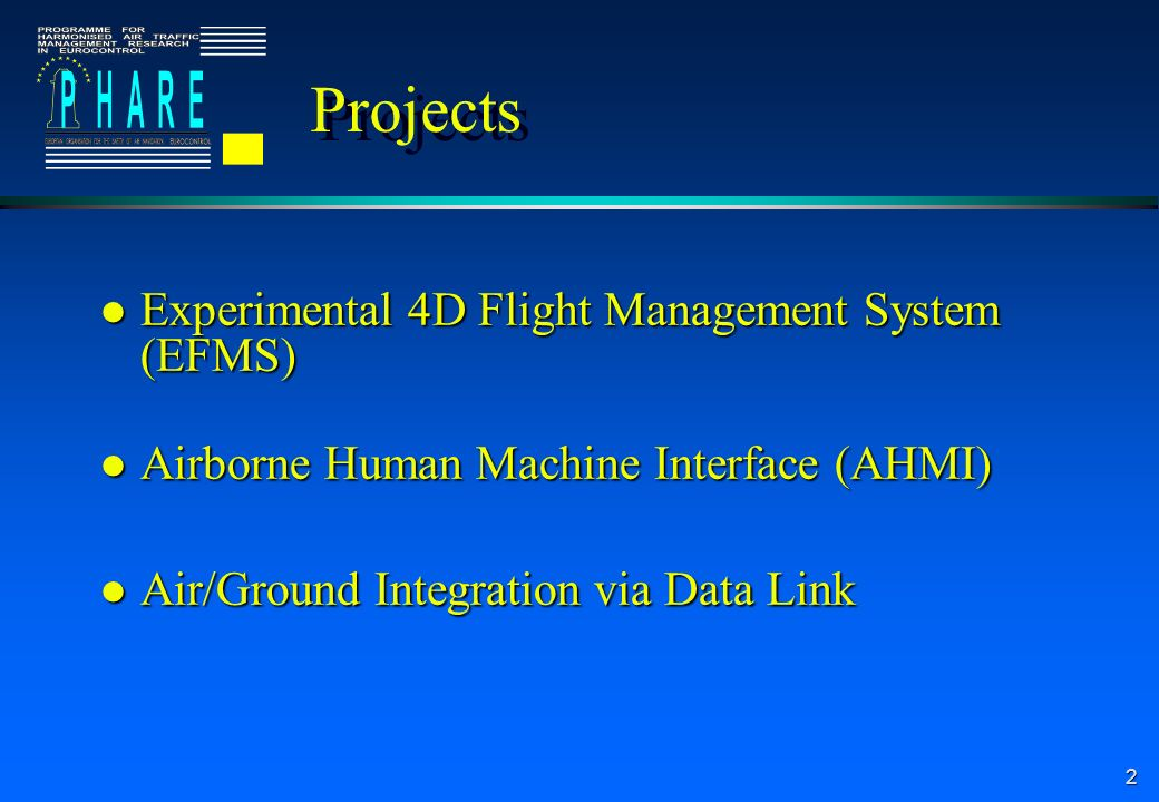 2 Projects l Experimental 4D Flight Management System (EFMS) l Airborne Human Machine Interface (AHMI) l Air/Ground Integration via Data Link