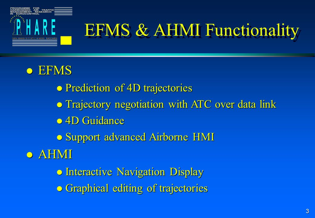 3 EFMS & AHMI Functionality l EFMS l Prediction of 4D trajectories l Trajectory negotiation with ATC over data link l 4D Guidance l Support advanced Airborne HMI l AHMI l Interactive Navigation Display l Graphical editing of trajectories