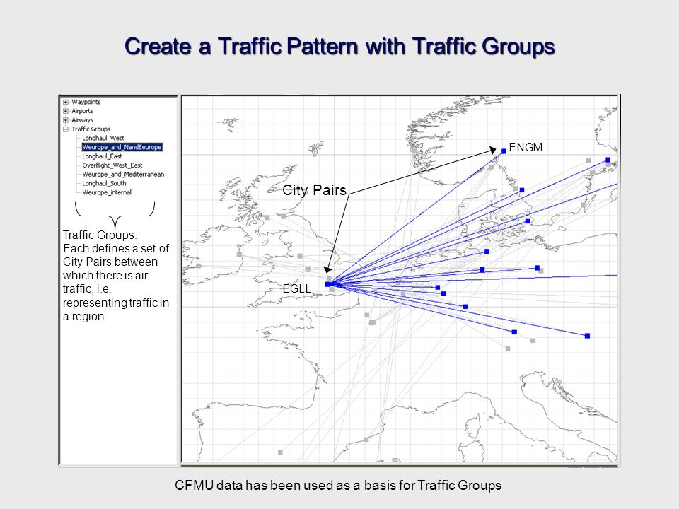 Create a Traffic Pattern with Traffic Groups City Pairs EGLL ENGM Traffic Groups: Each defines a set of City Pairs between which there is air traffic, i.e.