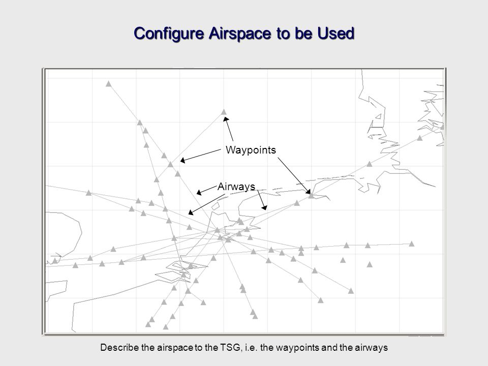 Configure Airspace to be Used Airways Waypoints Describe the airspace to the TSG, i.e.