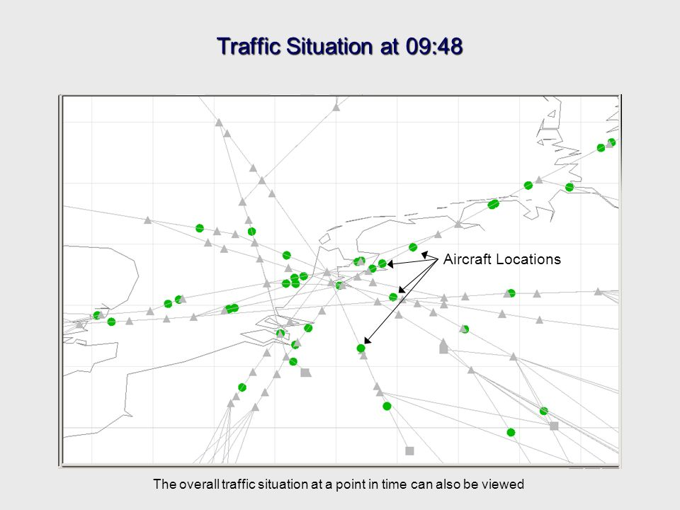 Traffic Situation at 09:48 Aircraft Locations The overall traffic situation at a point in time can also be viewed
