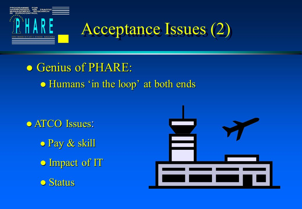 Acceptance Issues (2) l Genius of PHARE: l Humans in the loop at both ends ATCO Issues : ATCO Issues : Pay & skill Pay & skill l Impact of IT l Status