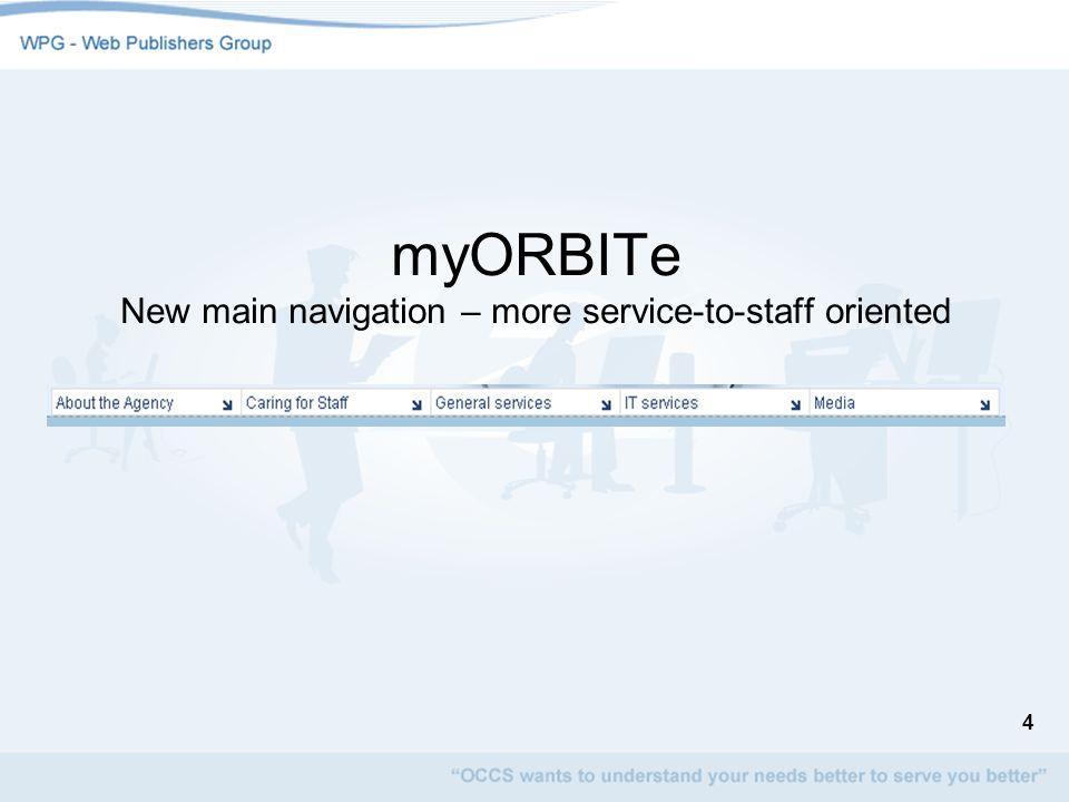 4 myORBITe New main navigation – more service-to-staff oriented