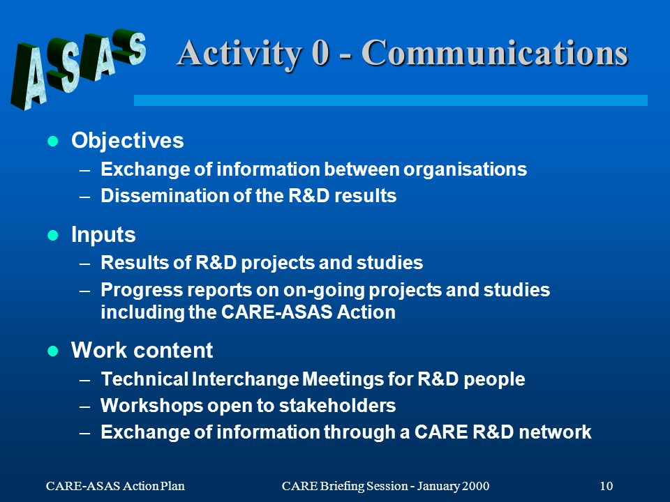 CARE-ASAS Action PlanCARE Briefing Session - January 200010 Activity 0 - Communications Objectives –Exchange of information between organisations –Dis