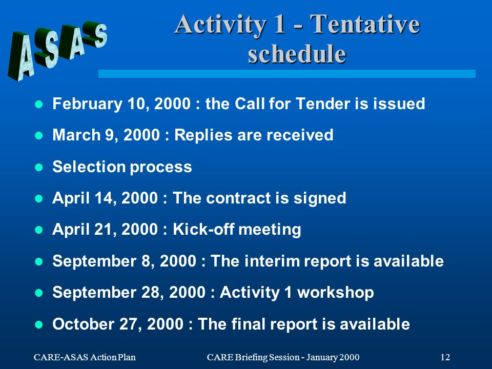 CARE-ASAS Action PlanCARE Briefing Session - January 200012 Activity 1 - Tentative schedule February 10, 2000 : the Call for Tender is issued March 9,